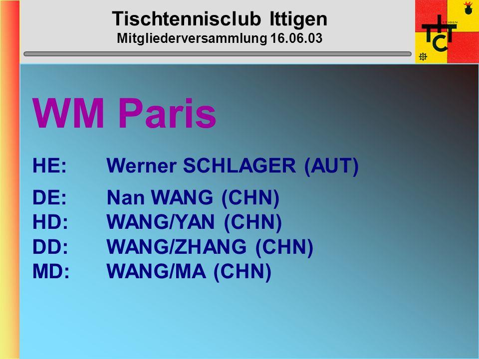 Tischtennisclub Ittigen Mitgliederversammlung 16.06.03 WM Paris HE:Werner SCHLAGER (AUT) DE:Nan WANG (CHN) HD:WANG/YAN (CHN) DD:WANG/ZHANG (CHN) MD:WANG/MA (CHN)