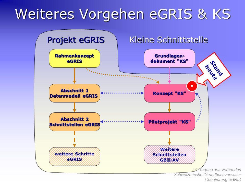 54. Tagung des Verbandes Schweizerischer Grundbuchverwalter Orientierung eGRIS Projekt eGRIS Weiteres Vorgehen eGRIS & KS Grundlagen- dokument