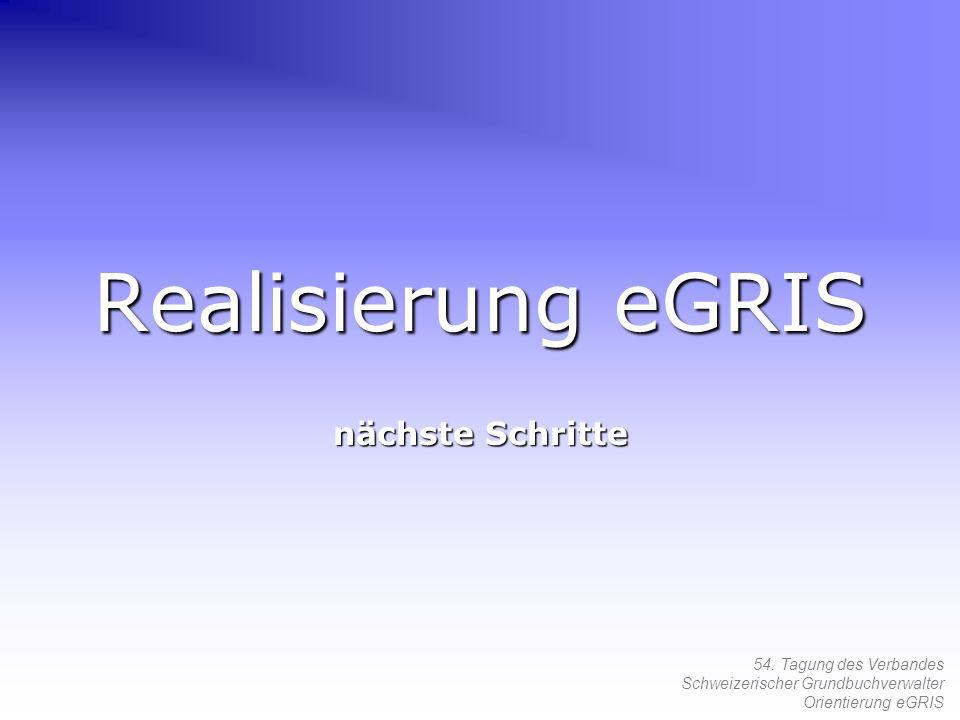 54. Tagung des Verbandes Schweizerischer Grundbuchverwalter Orientierung eGRIS Realisierung eGRIS nächste Schritte
