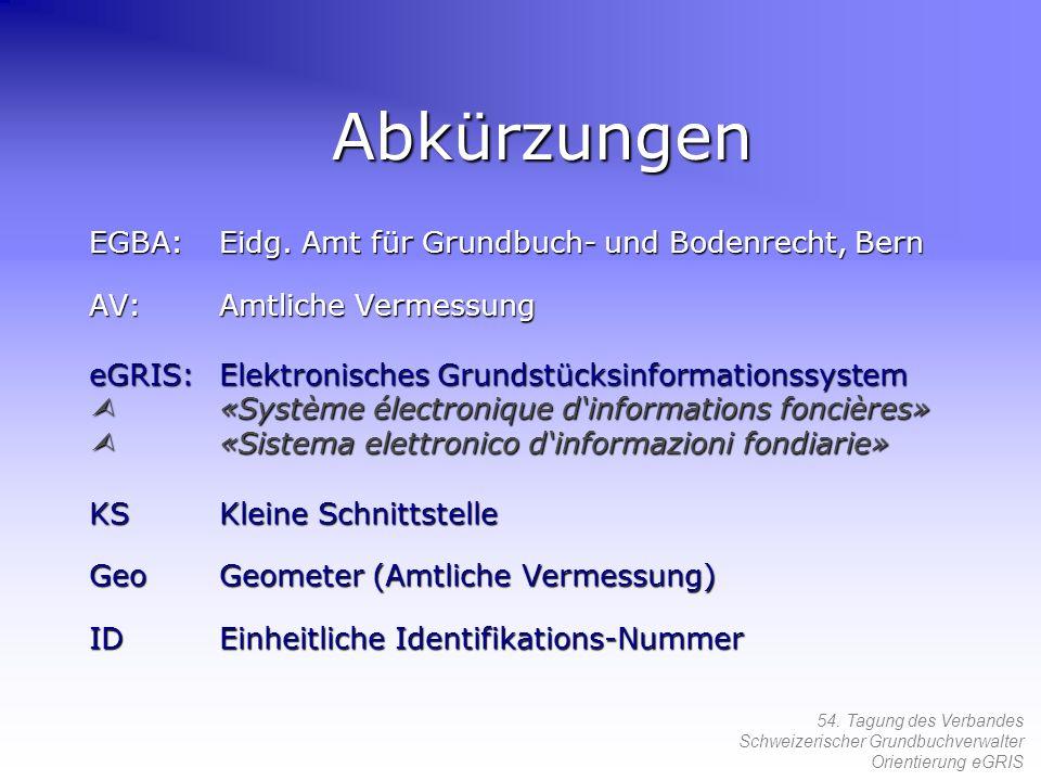 54. Tagung des Verbandes Schweizerischer Grundbuchverwalter Orientierung eGRIS Abkürzungen EGBA:Eidg. Amt für Grundbuch- und Bodenrecht, Bern AV:Amtli