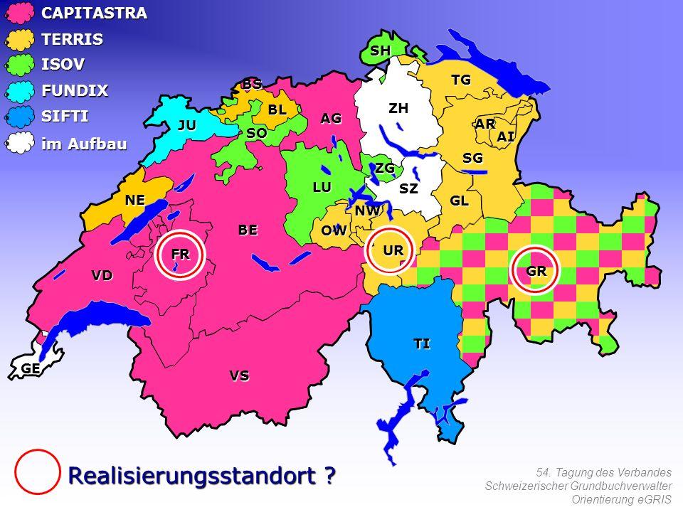 54. Tagung des Verbandes Schweizerischer Grundbuchverwalter Orientierung eGRISCAPITASTRATERRIS ISOV FUNDIX SIFTI Realisierungsstandort ? im Aufbau NW