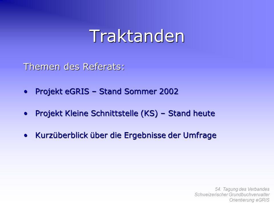 54. Tagung des Verbandes Schweizerischer Grundbuchverwalter Orientierung eGRIS Traktanden Themen des Referats: Projekt eGRIS – Stand Sommer 2002Projek