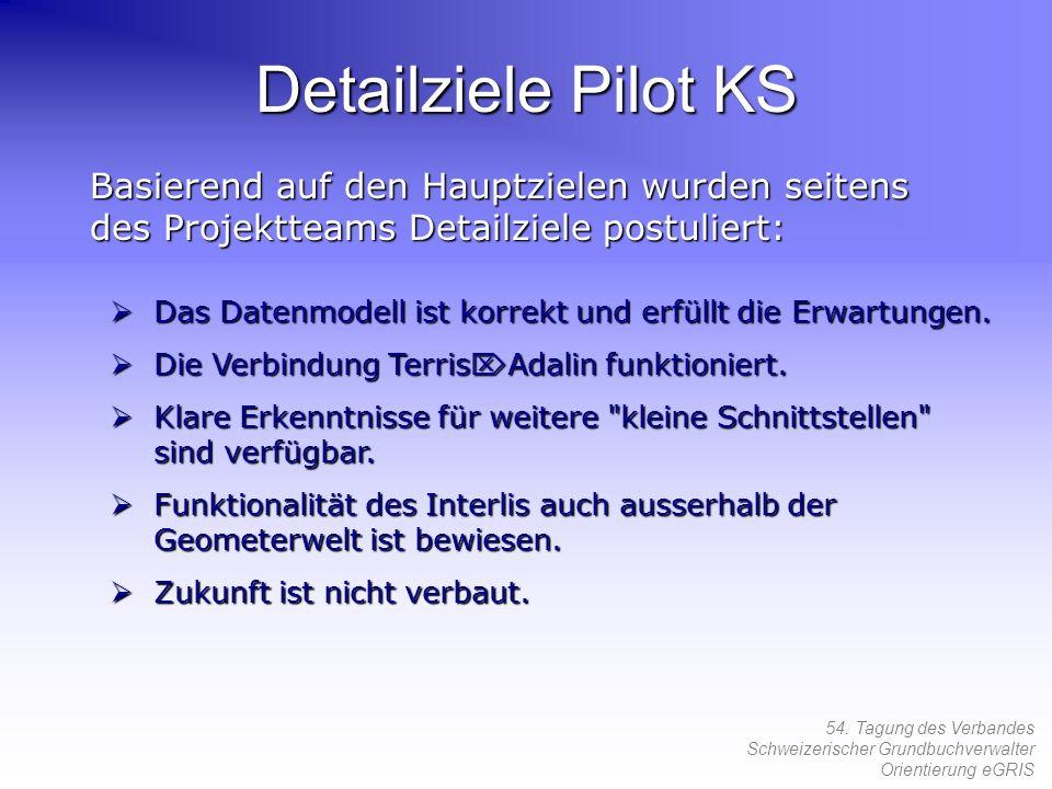 54. Tagung des Verbandes Schweizerischer Grundbuchverwalter Orientierung eGRIS Detailziele Pilot KS Basierend auf den Hauptzielen wurden seitens des P