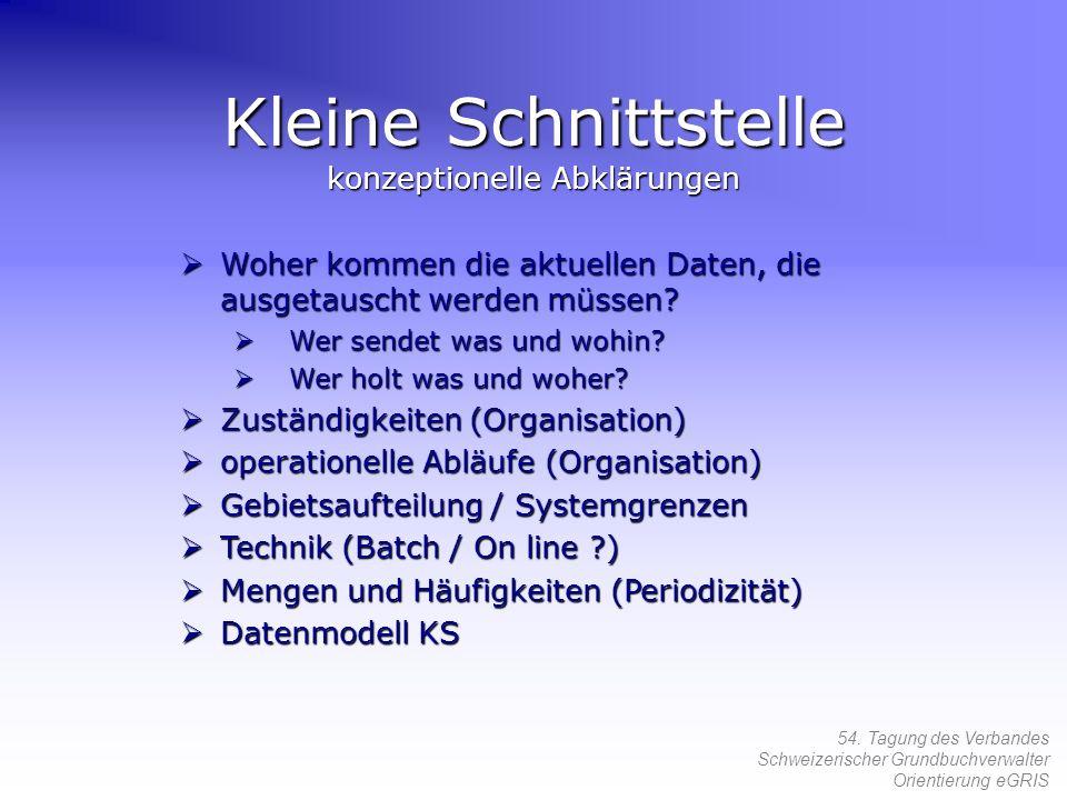 54. Tagung des Verbandes Schweizerischer Grundbuchverwalter Orientierung eGRIS Kleine Schnittstelle konzeptionelle Abklärungen Woher kommen die aktuel
