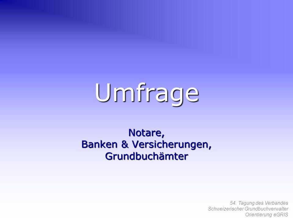 54. Tagung des Verbandes Schweizerischer Grundbuchverwalter Orientierung eGRIS Umfrage Notare, Banken & Versicherungen, Grundbuchämter
