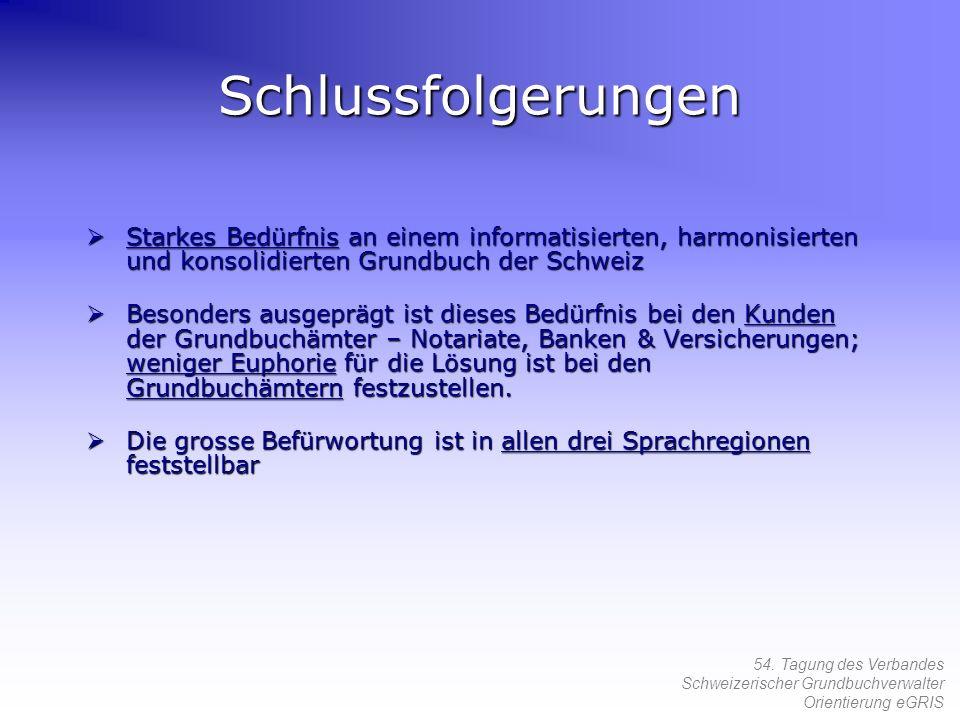 54. Tagung des Verbandes Schweizerischer Grundbuchverwalter Orientierung eGRIS Schlussfolgerungen Starkes Bedürfnis an einem informatisierten, harmoni