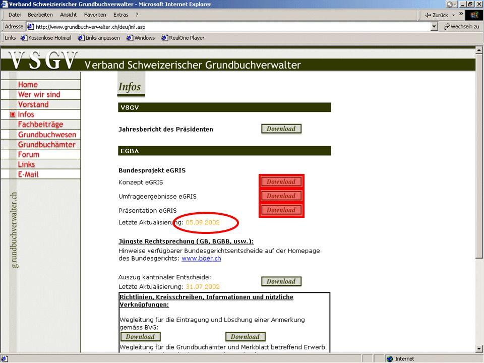 54. Tagung des Verbandes Schweizerischer Grundbuchverwalter Orientierung eGRIS www.grundbuchverwalter.ch
