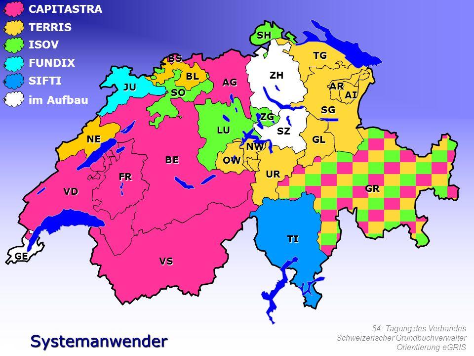 54. Tagung des Verbandes Schweizerischer Grundbuchverwalter Orientierung eGRIS CAPITASTRA TERRIS ISOV FUNDIX SIFTI Systemanwender im Aufbau NW OW LU U