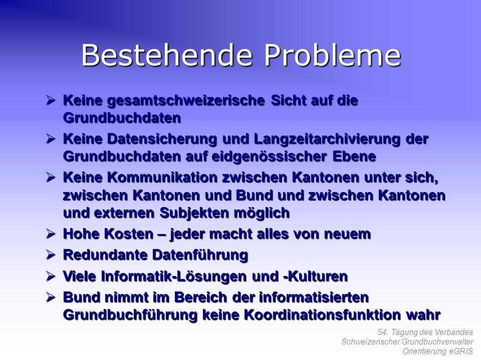 54. Tagung des Verbandes Schweizerischer Grundbuchverwalter Orientierung eGRIS Keine gesamtschweizerische Sicht auf die Grundbuchdaten Keine gesamtsch