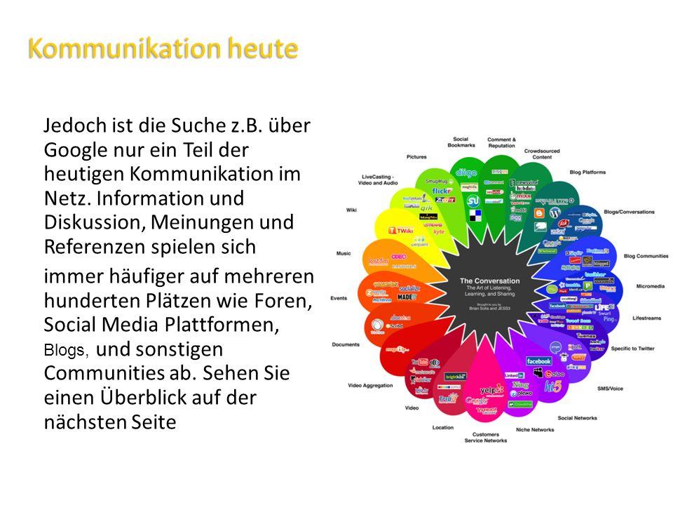 Kommunikation heute Jedoch ist die Suche z.B. über Google nur ein Teil der heutigen Kommunikation im Netz. Information und Diskussion, Meinungen und R