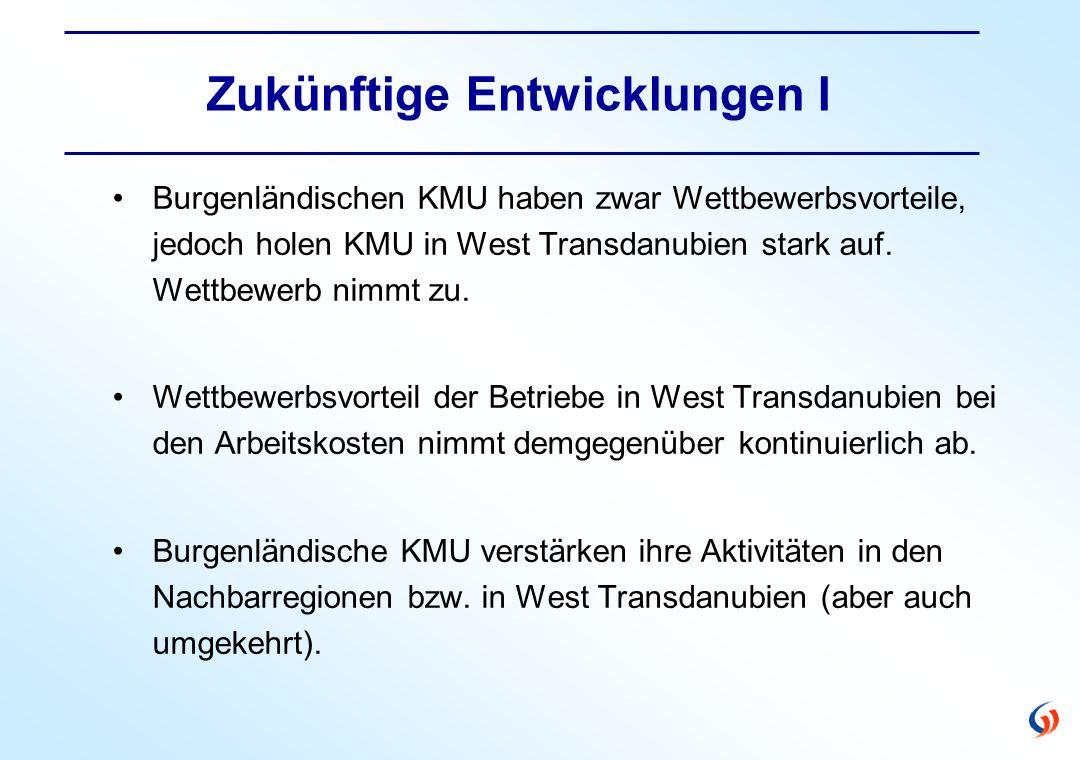 Zukünftige Entwicklungen I Burgenländischen KMU haben zwar Wettbewerbsvorteile, jedoch holen KMU in West Transdanubien stark auf.