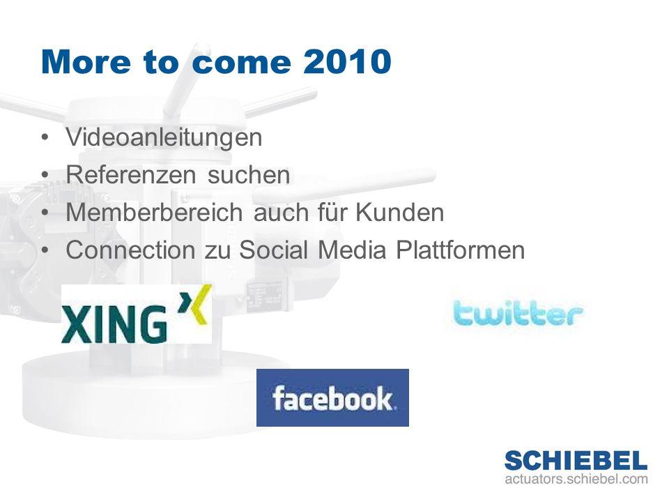 More to come 2010 Videoanleitungen Referenzen suchen Memberbereich auch für Kunden Connection zu Social Media Plattformen