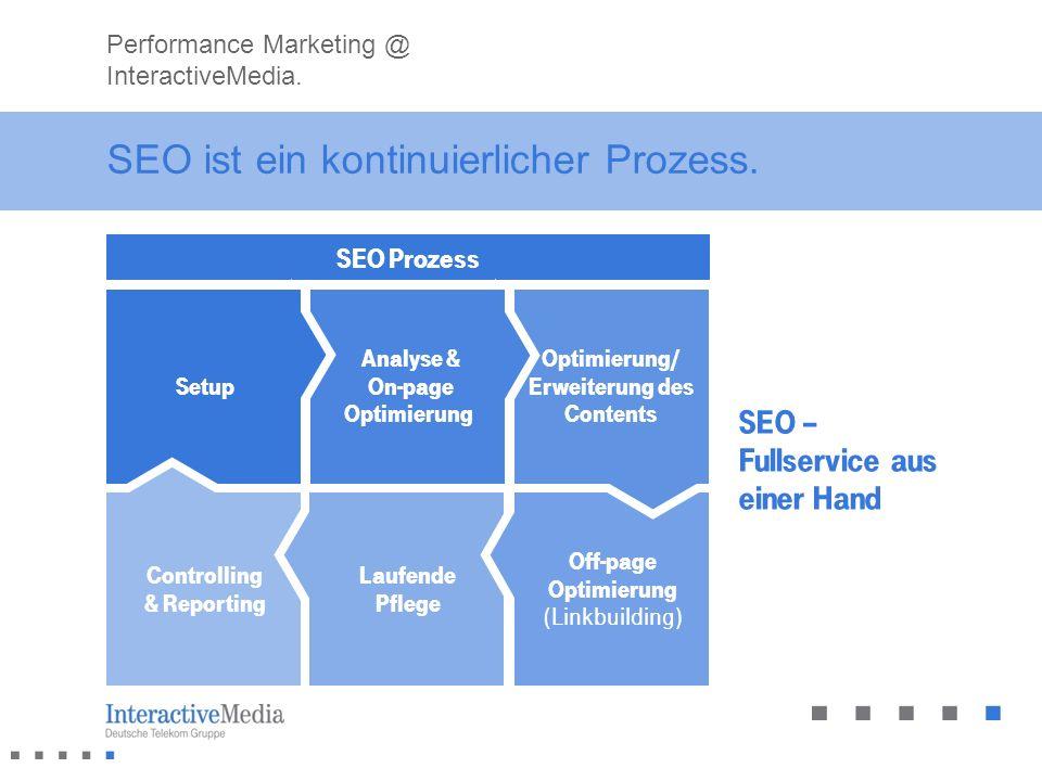 SEO ist ein kontinuierlicher Prozess. SEO Prozess Performance Marketing @ InteractiveMedia. Controlling & Reporting Laufende Pflege Off-page Optimieru