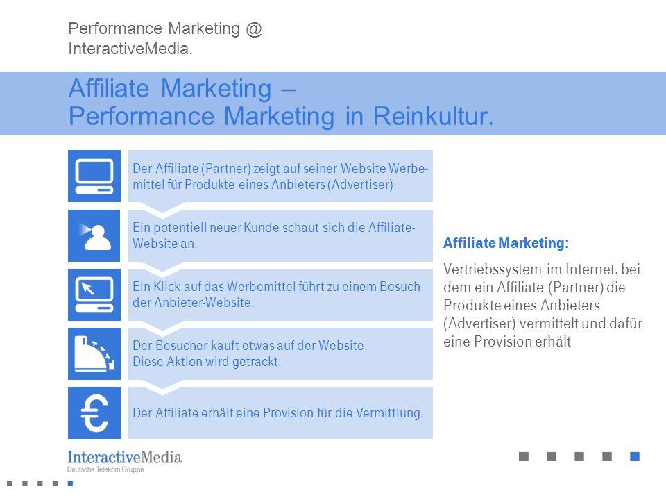 Affiliate Marketing – Performance Marketing in Reinkultur. Affiliate Marketing: Vertriebssystem im Internet, bei dem ein Affiliate (Partner) die Produ
