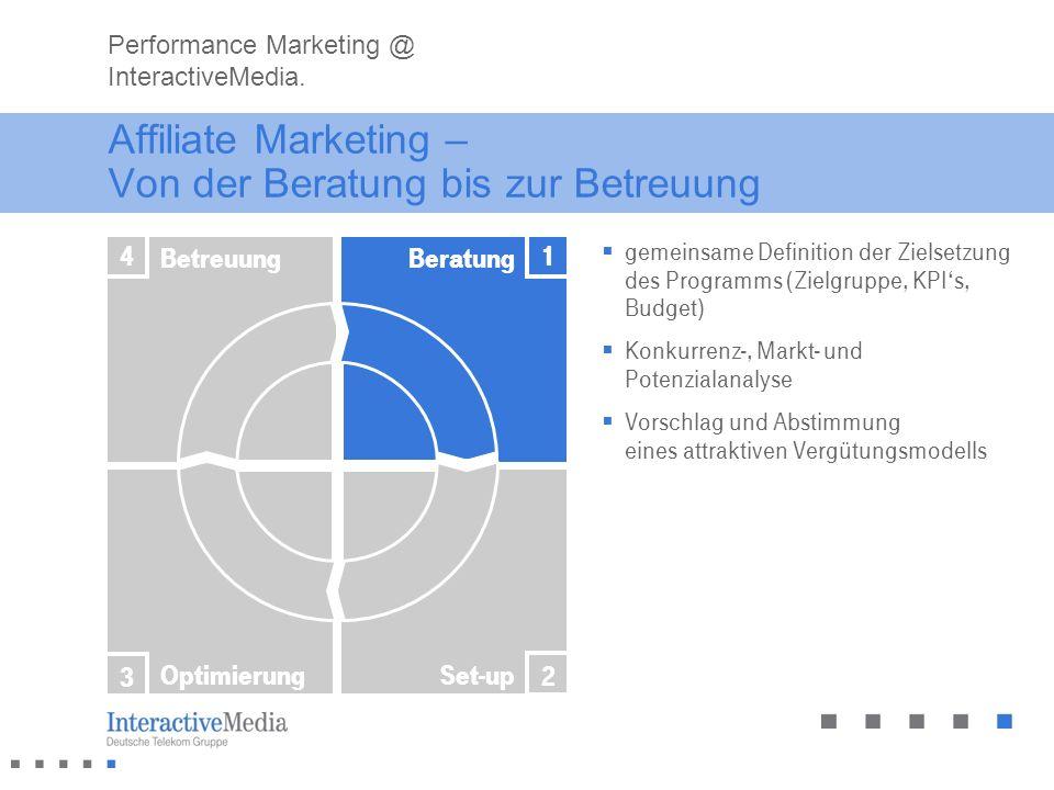 Affiliate Marketing – Von der Beratung bis zur Betreuung gemeinsame Definition der Zielsetzung des Programms (Zielgruppe, KPIs, Budget) Konkurrenz-, M