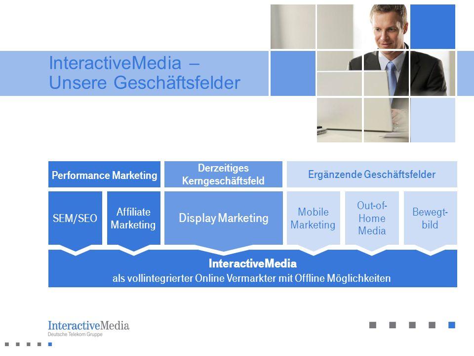 InteractiveMedia als vollintegrierter Online Vermarkter mit Offline Möglichkeiten InteractiveMedia – Unsere Geschäftsfelder Mobile Marketing Out-of- H