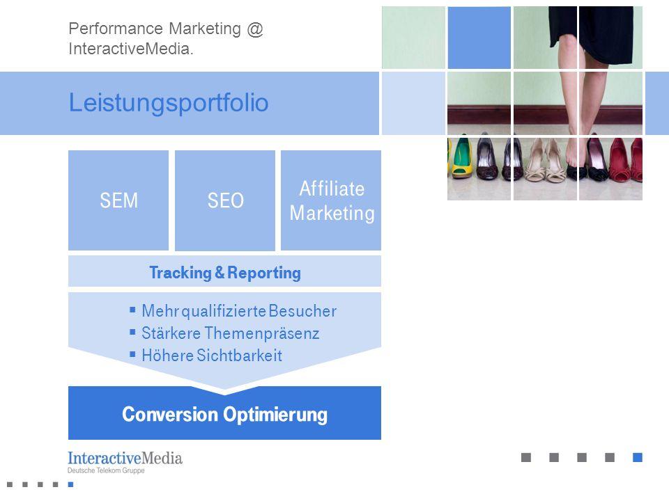 Leistungsportfolio Conversion Optimierung Tracking & Reporting Mehr qualifizierte Besucher Stärkere Themenpräsenz Höhere Sichtbarkeit Affiliate Market