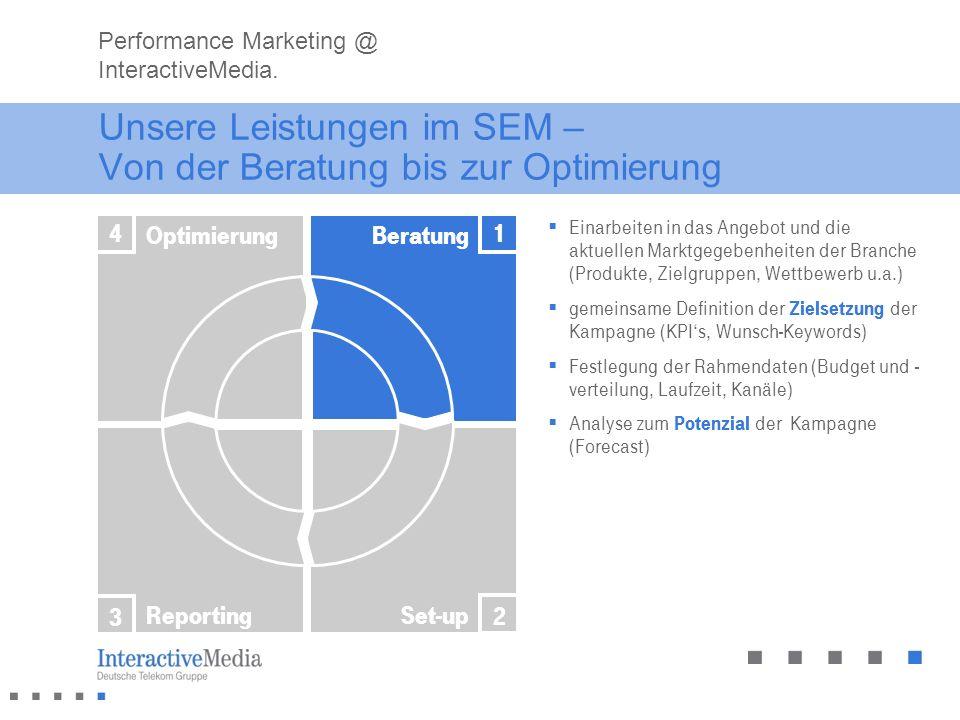 Unsere Leistungen im SEM – Von der Beratung bis zur Optimierung Einarbeiten in das Angebot und die aktuellen Marktgegebenheiten der Branche (Produkte,