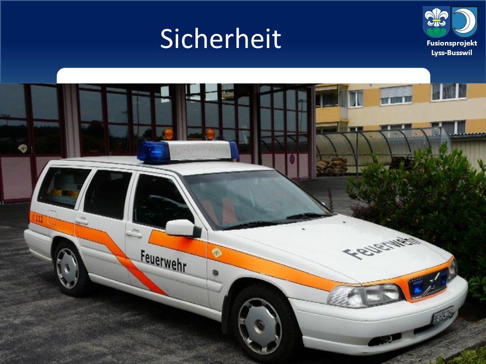 Fusionsprojekt Lyss-Busswil aktuelle Situation: Beide Gemeinden sind in unterschiedliche Netze eingebunden zu erarbeiten: Lysser Vertrag mit Police Bern anpassen Feuerwehr und Zivilschutz neu organisieren Sicherheit