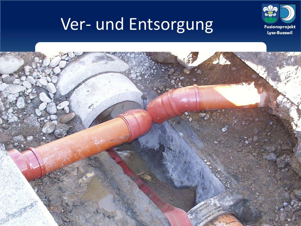Fusionsprojekt Lyss-Busswil Ver- und Entsorgung aktuelle Situation: Mit Ausnahme des Kanalisationsnetzes von Busswil werden die Aufgaben bereits gemeinsam erfüllt (ESAG und ARA-Region Lyss).