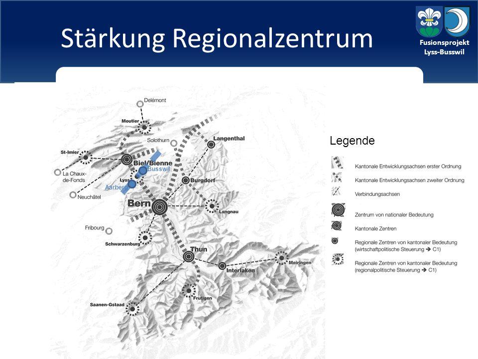Fusionsprojekt Lyss-Busswil Stärkung Regionalzentrum Legende Aarberg Busswil
