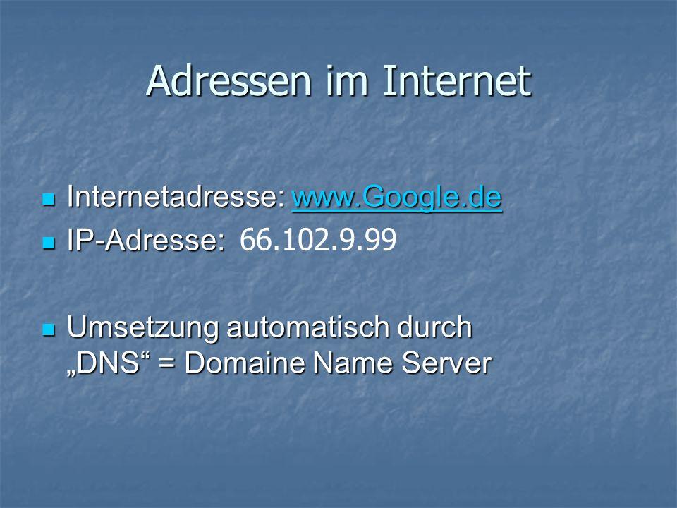 Adressen im Internet Internetadresse: www.Google.de Internetadresse: www.Google.dewww.Google.de IP-Adresse: IP-Adresse: 66.102.9.99 Umsetzung automatisch durch DNS = Domaine Name Server Umsetzung automatisch durch DNS = Domaine Name Server
