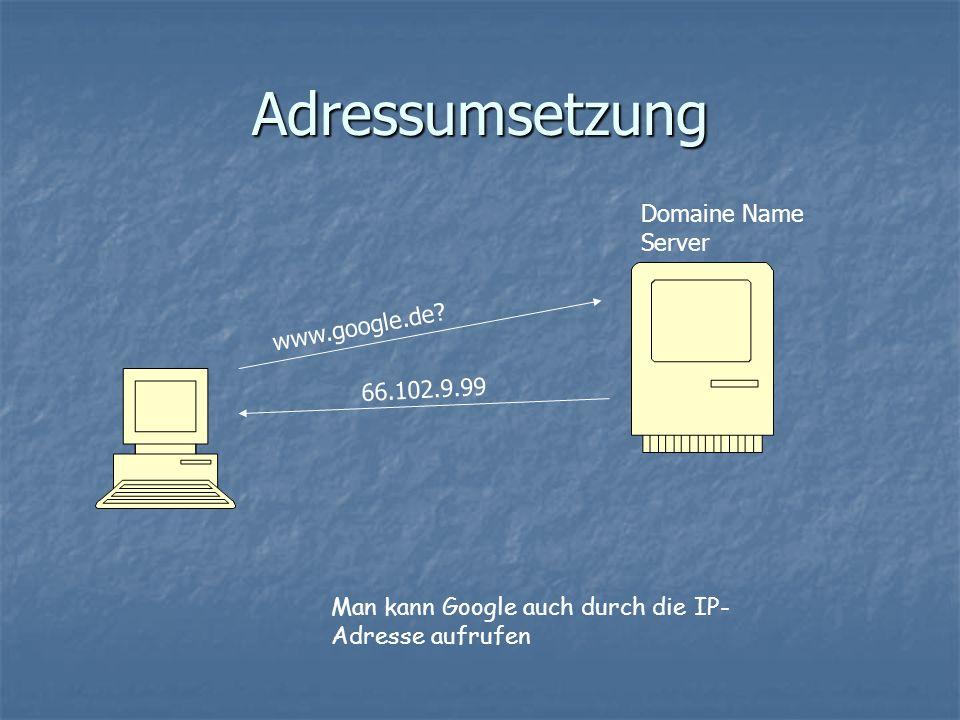 Adressumsetzung 66.102.9.99 www.google.de.