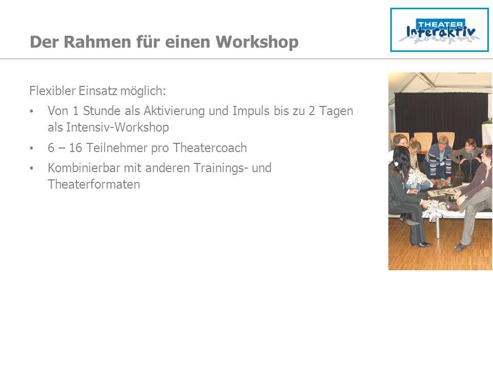Der Rahmen für einen Workshop Flexibler Einsatz möglich: Von 1 Stunde als Aktivierung und Impuls bis zu 2 Tagen als Intensiv-Workshop 6 – 16 Teilnehme