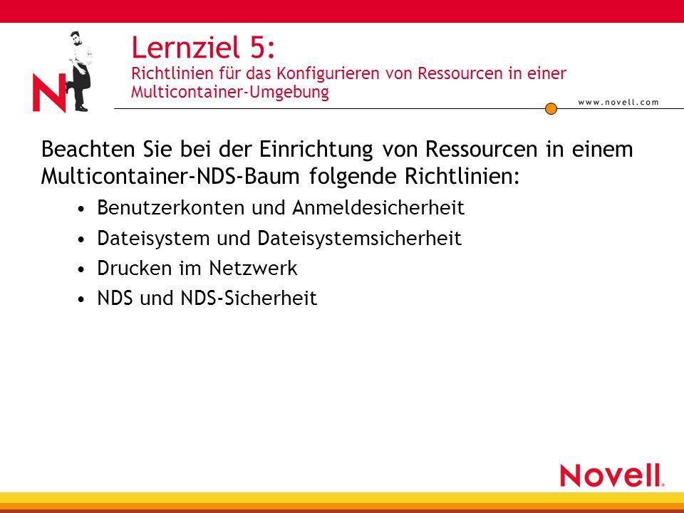 Lernziel 5: Richtlinien für das Konfigurieren von Ressourcen in einer Multicontainer-Umgebung Beachten Sie bei der Einrichtung von Ressourcen in einem Multicontainer-NDS-Baum folgende Richtlinien: Benutzerkonten und Anmeldesicherheit Dateisystem und Dateisystemsicherheit Drucken im Netzwerk NDS und NDS-Sicherheit
