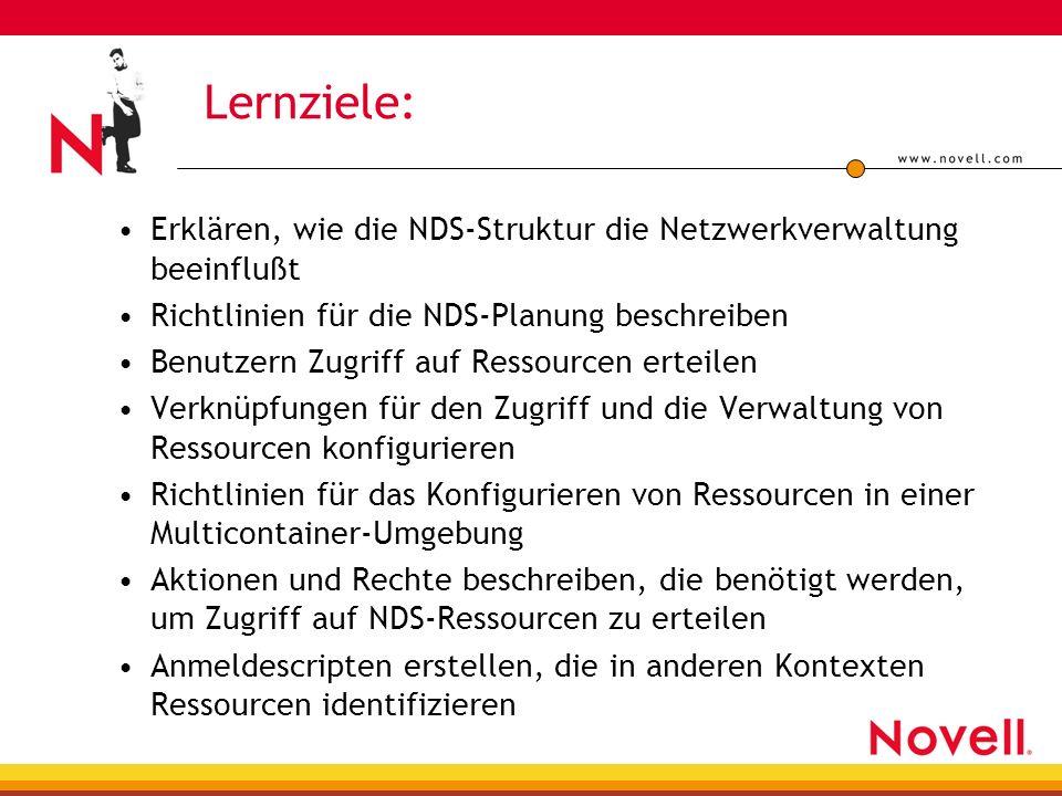 Lernziele: Erklären, wie die NDS-Struktur die Netzwerkverwaltung beeinflußt Richtlinien für die NDS-Planung beschreiben Benutzern Zugriff auf Ressourcen erteilen Verknüpfungen für den Zugriff und die Verwaltung von Ressourcen konfigurieren Richtlinien für das Konfigurieren von Ressourcen in einer Multicontainer-Umgebung Aktionen und Rechte beschreiben, die benötigt werden, um Zugriff auf NDS-Ressourcen zu erteilen Anmeldescripten erstellen, die in anderen Kontexten Ressourcen identifizieren
