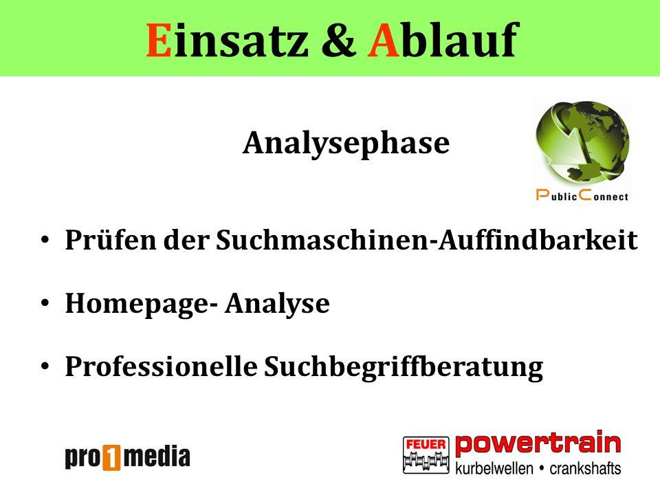 Einsatz & Ablauf Analysephase Prüfen der Suchmaschinen-Auffindbarkeit Homepage- Analyse Professionelle Suchbegriffberatung