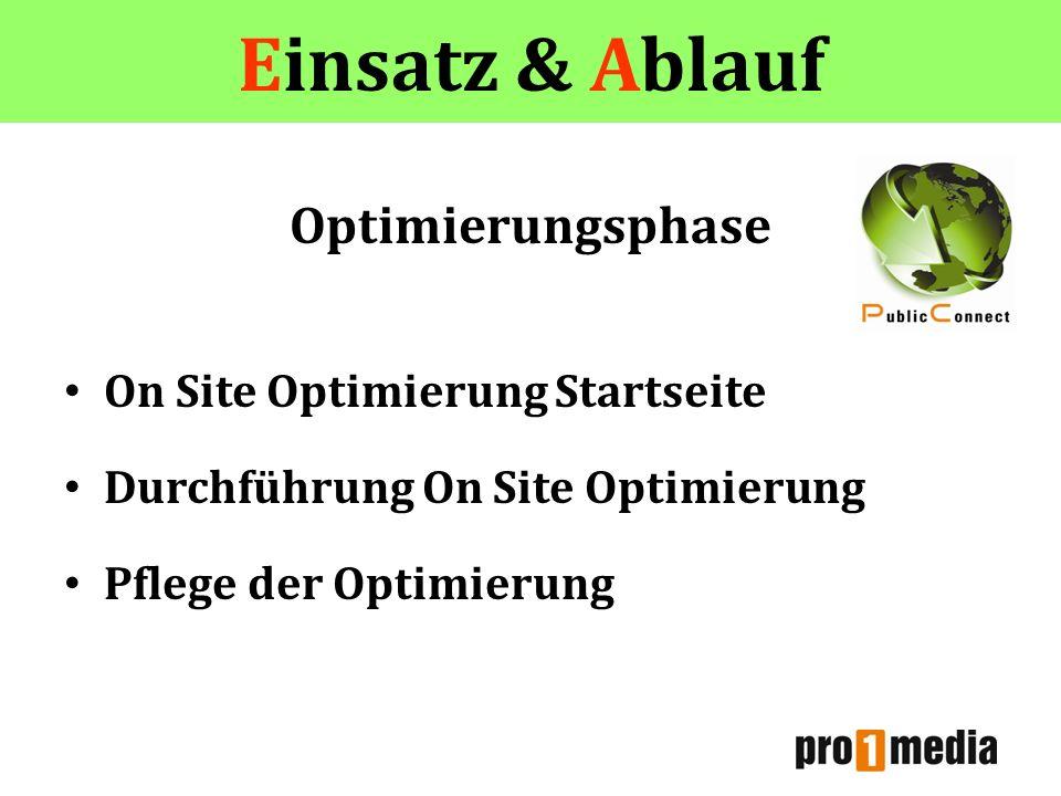 Einsatz & Ablauf Optimierungsphase On Site Optimierung Startseite Durchführung On Site Optimierung Pflege der Optimierung Einsatz & Ablauf
