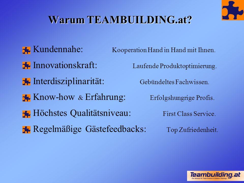 Warum TEAMBUILDING.at. Kundennahe: Kooperation Hand in Hand mit Ihnen.