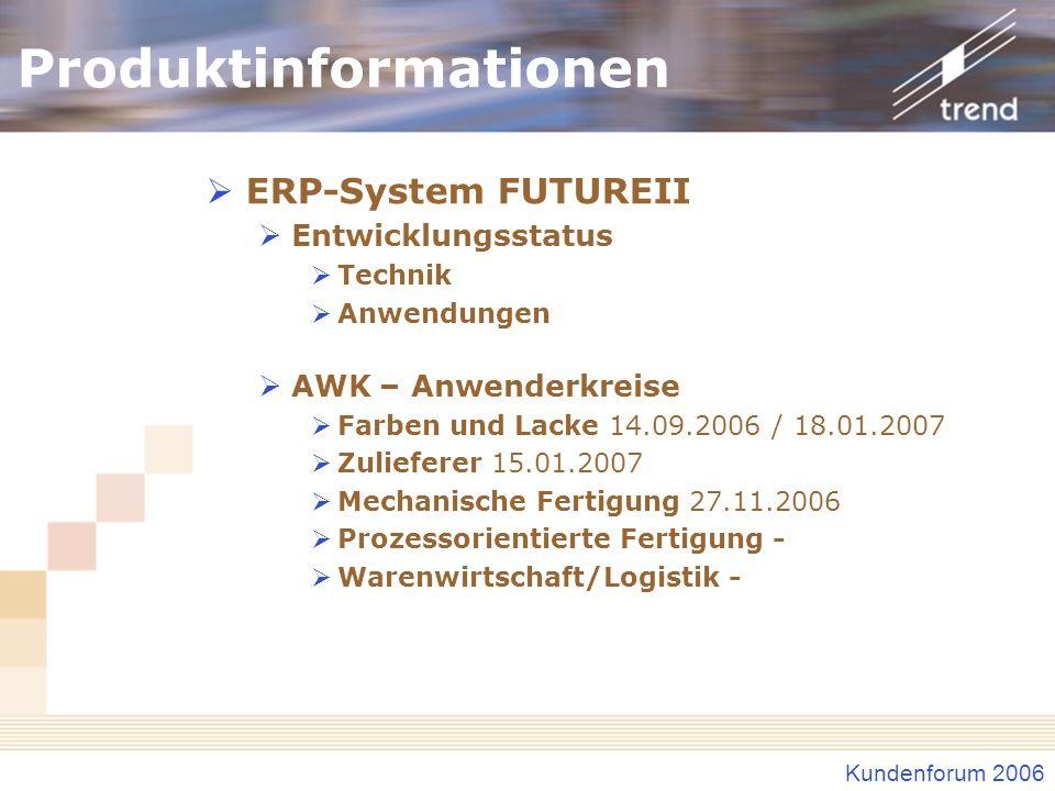 Kundenforum 2006 Produktinformationen ERP-System FUTUREII Entwicklungsstatus Technik Anwendungen AWK – Anwenderkreise Farben und Lacke 14.09.2006 / 18