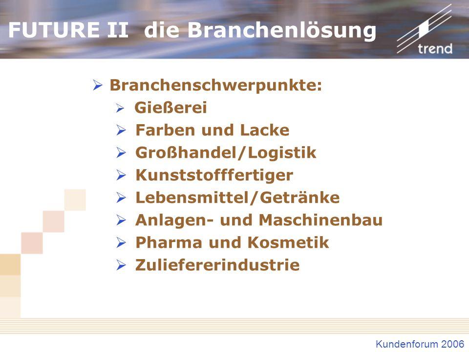 Kundenforum 2006 FUTURE II die Branchenlösung Branchenschwerpunkte: Gießerei Farben und Lacke Großhandel/Logistik Kunststofffertiger Lebensmittel/Getr