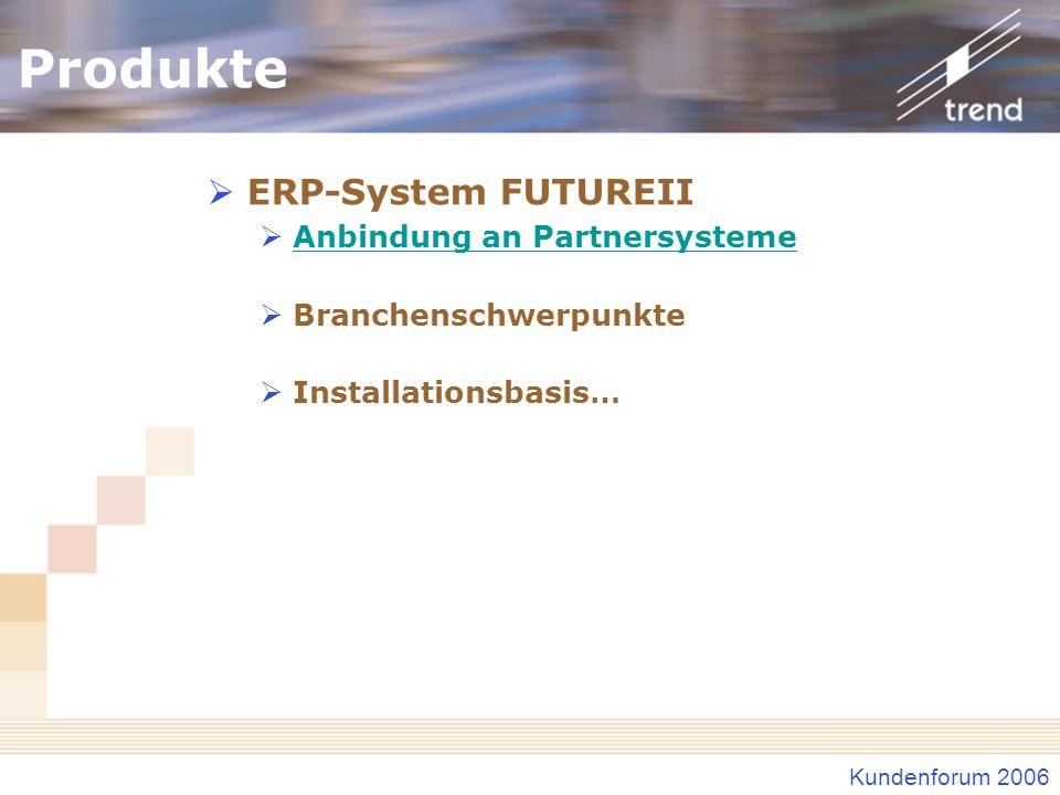 Kundenforum 2006 Produkte ERP-System FUTUREII Anbindung an Partnersysteme Branchenschwerpunkte Installationsbasis…