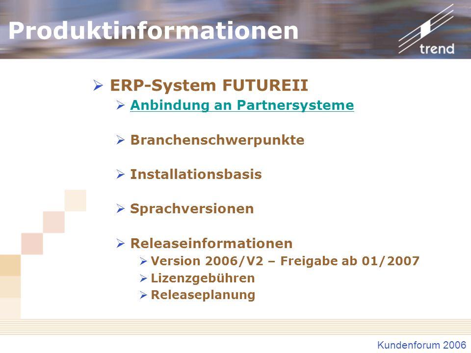 Kundenforum 2006 Produktinformationen ERP-System FUTUREII Anbindung an Partnersysteme Branchenschwerpunkte Installationsbasis Sprachversionen Releasei