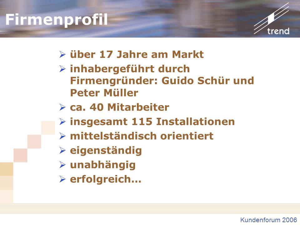 Kundenforum 2006 Firmenprofil über 17 Jahre am Markt inhabergeführt durch Firmengründer: Guido Schür und Peter Müller ca. 40 Mitarbeiter insgesamt 115