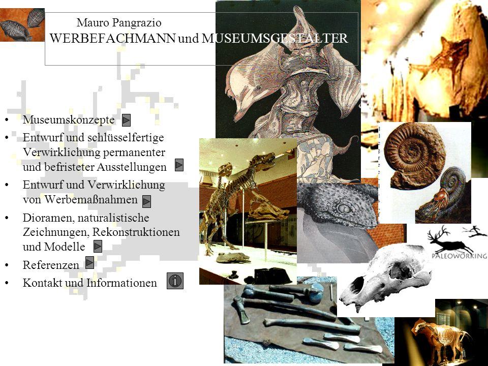 Museumskonzepte Entwurf und schlüsselfertige Verwirklichung permanenter und befristeter Ausstellungen Entwurf und Verwirklichung von Werbemaßnahmen Di
