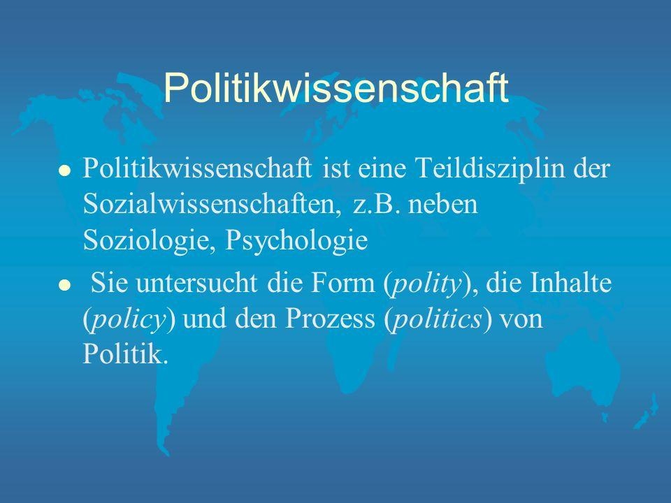 Politikwissenschaft Studieren am IfPol der Westfälischen Wilhelms-Universität Präsentation am Hochschultag des BKWV Ahaus Dr.