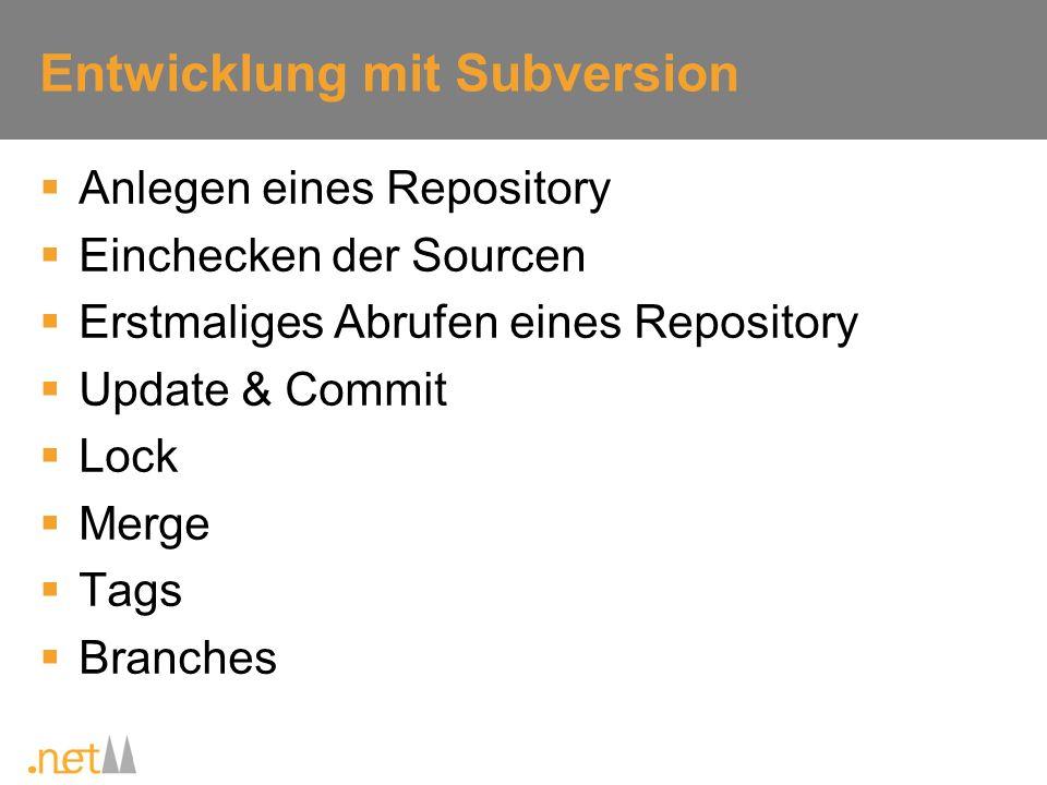 Entwicklung mit Subversion Anlegen eines Repository Einchecken der Sourcen Erstmaliges Abrufen eines Repository Update & Commit Lock Merge Tags Branch