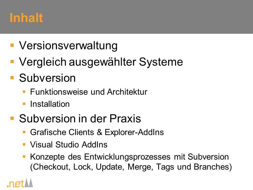 Inhalt Versionsverwaltung Vergleich ausgewählter Systeme Subversion Funktionsweise und Architektur Installation Subversion in der Praxis Grafische Cli