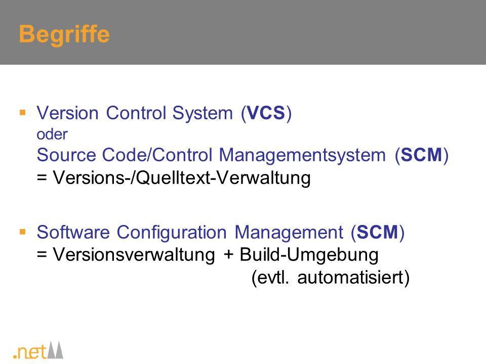 Ausgewählte VCS Concurrent Versions System (CVS) Subversion (SVN) Visual Source Safe (VSS) Team Foundation Version Control (TFVC) Hier nicht betrachtet: Rational ClearCase (kommerziell) BitKeeper (kommerziell, Linuxkernel bis 2005) Telelogic Synergy/CM (kommerziell, ehemals Continuus) Serena PVCS Version Manager (kommerziell, ehemals Merant PVCS) + weitere kommerzielle System und viel konkurrierende OSS-Projekte