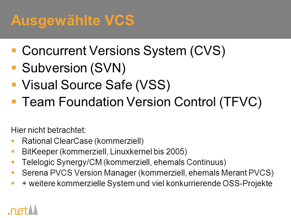 Ausgewählte VCS Concurrent Versions System (CVS) Subversion (SVN) Visual Source Safe (VSS) Team Foundation Version Control (TFVC) Hier nicht betrachte