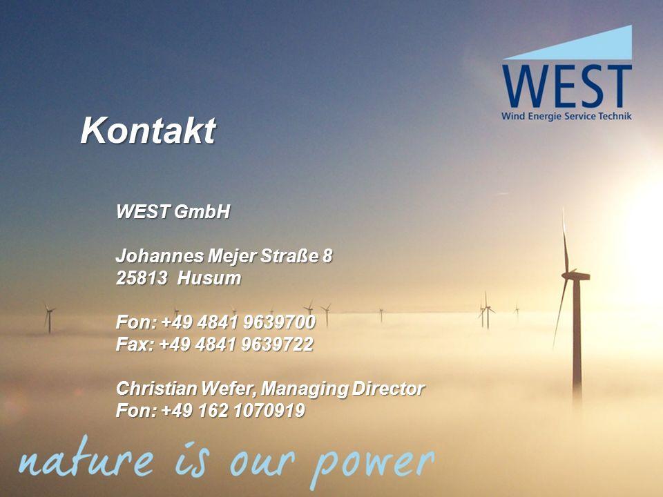 Kontakt WEST GmbH Johannes Mejer Straße 8 25813 Husum Fon: +49 4841 9639700 Fax: +49 4841 9639722 Christian Wefer, Managing Director Fon: +49 162 1070