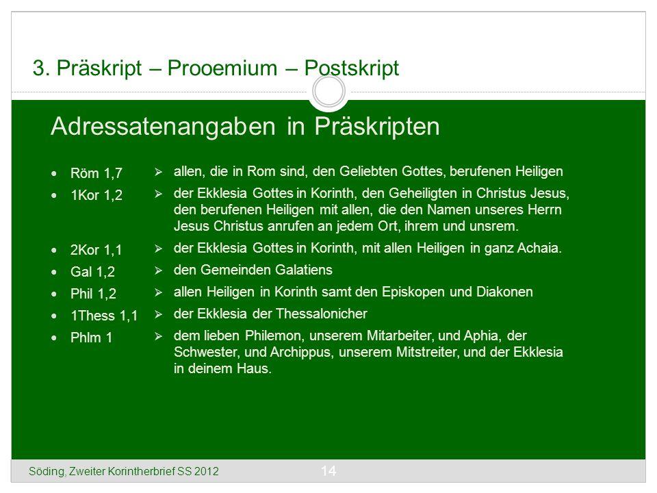 Söding, Zweiter Korintherbrief SS 2012 14 3. Präskript – Prooemium – Postskript Adressatenangaben in Präskripten Röm 1,7 1Kor 1,2 2Kor 1,1 Gal 1,2 Phi
