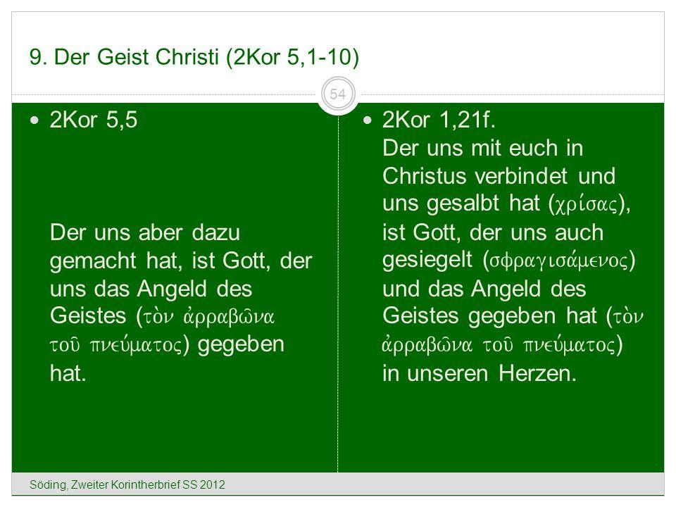 9. Der Geist Christi (2Kor 5,1-10) Söding, Zweiter Korintherbrief SS 2012 54 2Kor 5,5 Der uns aber dazu gemacht hat, ist Gott, der uns das Angeld des