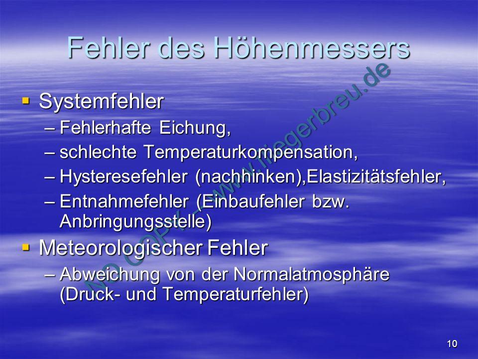NO COPY – www.fliegerbreu.de 10 Fehler des Höhenmessers Systemfehler Systemfehler –Fehlerhafte Eichung, –schlechte Temperaturkompensation, –Hysteresef