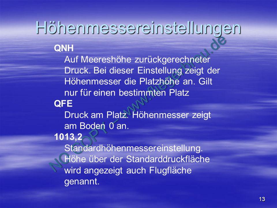 NO COPY – www.fliegerbreu.de 13 Höhenmessereinstellungen QNH Auf Meereshöhe zurückgerechneter Druck. Bei dieser Einstellung zeigt der Höhenmesser die