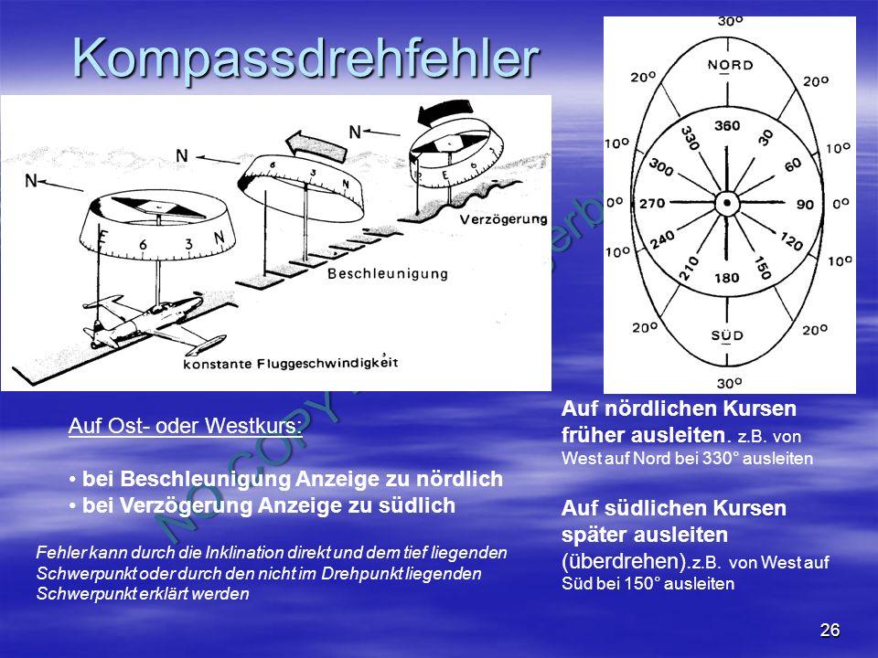 NO COPY – www.fliegerbreu.de 26 Kompassdrehfehler Auf nördlichen Kursen früher ausleiten. z.B. von West auf Nord bei 330° ausleiten Auf südlichen Kurs
